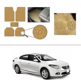 AutoStark Anti Slip Noodle Car Floor Mats Set Of 5 Beige For Renault Fluence