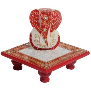 MARBLE ENAMEL PAINTED GANESHA PLACED ON CHOWKI-HPMR14058