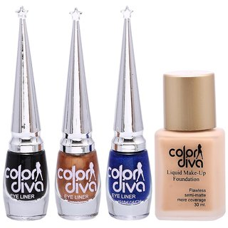 Color Diva 1 Forsted Foundation  Black, Blue, Golden Eyeliner