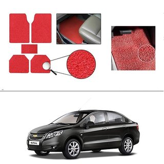 AutoStark Anti Slip Noodle Car Floor Mats Set of 5-Red For Chevrolet Sail