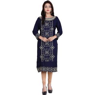 Be You Rayon Navy Blue Embroidered Stitched Straight Kurti / Kurta