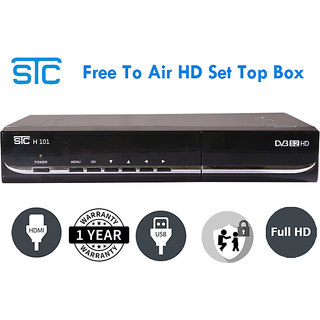 STC Free To Air Satellite Receiver HD Unlimited Recording Set Top Box (USB  Port + HDMI Port)No Monthly Recharge