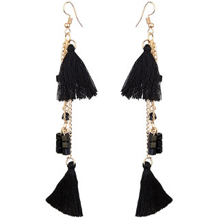 JewelMaze Gold Plated Black Thread Earrings