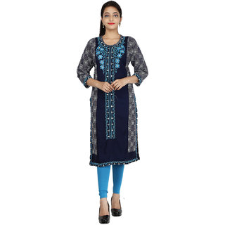 Be You Rayon Navy Blue Embroidered Stitched Straight Kurti / Kurta