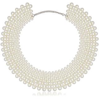 JewelMaze Zinc Alloy White Pearl Necklace