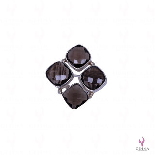 Square Shape Smokey Topaz Gemstone Studded Ring In .925 Solid Silver