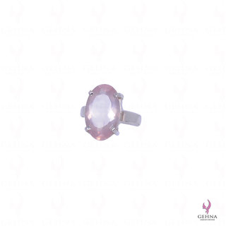 Rose Quartz Gemstone Studded Oval Shape Ring In .925 Solid Silver