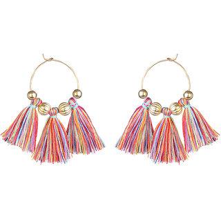 JewelMaze Gold Plated Multi Thread Earrings
