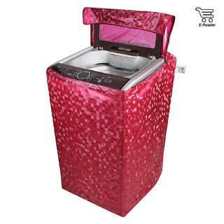 E-Retailer Classic Red Colour With Square Design Top Load Washing Machine Cover (Suitable For 5kg To 8kg)