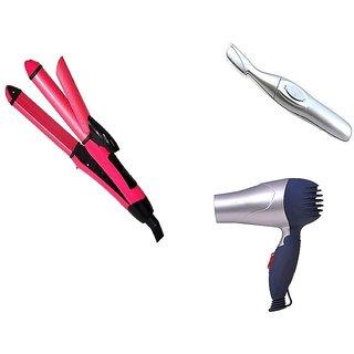 Combo Set Of Branded Hair Dryer 1000 Watt + 2 IN 1 Hair Straightener And Hair Curler + Bi Feather King Trimmer