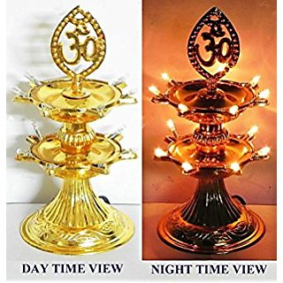 ReBuy 2 Layer Electric Diya Deepak Light Lamp LED Light for Home Temple decor