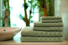 Bath Essentials,Set of 6, 100 Cotton, Plated Border, Super Soft and Absorbent, 600 GSM 6 Piece 2 Bath 2 Hand 2 Face Towel , Jade
