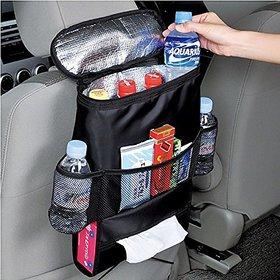 Car Seat Back Organizer, Multi-Pocket Travel Storage Bag, Insulated Car Seat Back Drinks Holder Cooler, (Heat-Preservation)