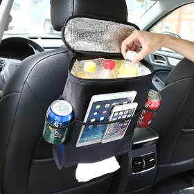 Back Organizer For Car, Cooler With Tissue Holder, Insulated Lunch Bag, Travel Picnic Storage Bag