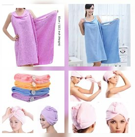 Combo Offer, Bath Ta Robe A Convenient Wearable Towel Free Size + Hair Wrap Towel (Colour May Vary)