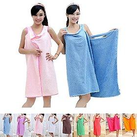 Women Microfiber Wearable Bath Wrap Beach Towel Dress Bathrobe Robe