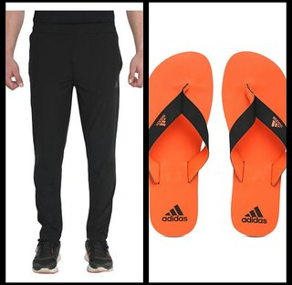 Adidas Black Polyester Lycra Trackpants Single and slippers combo