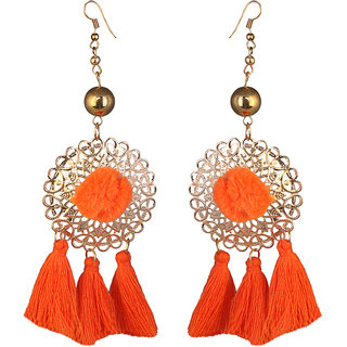 JewelMaze Gold Plated Orange Thread Earrings