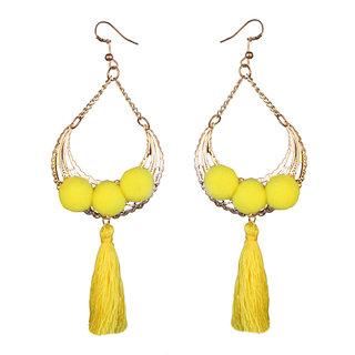 JewelMaze Gold Plated Yellow Thread Earrings