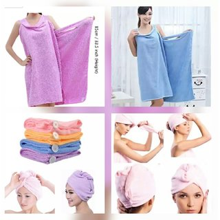 Combo Offer Bath Ta Robe A Convenient Wearable Towel Free Size + Hair Wrap Towel (Colour May Vary)