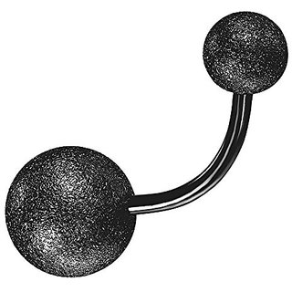 Black Glitter Finish Belly Button Ring Body Jewelry Piercing Navel Ring Barbells