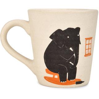 CollarFolk Ceramic Printed Mug Elephant In The Room - White
