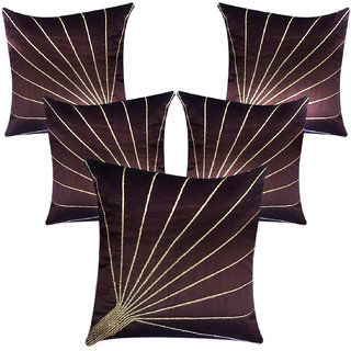 DirectDukaan Gota Embroidered Cushion Covers - Rust  Beige