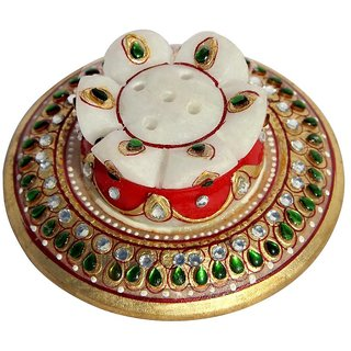 KUNDAN EMBELLISHED MARBLE INCENSE HOLDER-HPMR14132