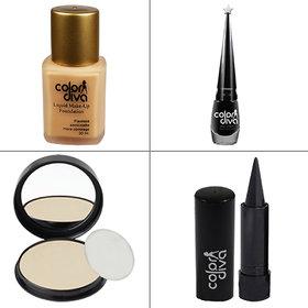 Color Diva Forsted Foundation, Compact Powder, Kajal, Black Eyeliner