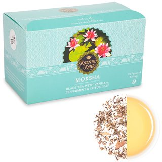 Karma Kettle Moksha- Black tea with Peppermint Vanilla Lotus 25 Pyramid Teabags