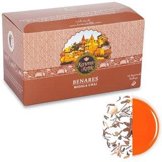 Karma Kettle Benares-Masala Chai 25 Pyramid Teabags. Black Tea.