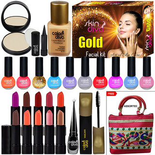 Color Diva Makeup Combo Sets With Skin Diva Skin Care Facial Kit-80g Pack of 23 Pc