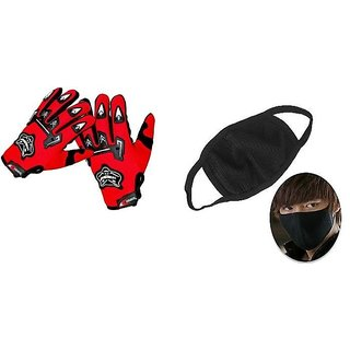 Combo Red Knighthood Gloves+ Anti Pollution Face Mask for Winter