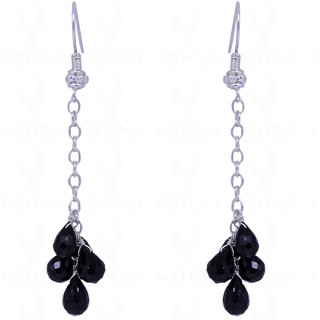 BLACK SPINEL GEMSTONE FACETED DROPS EARRINGS MADE IN .925 STERLING SILVER