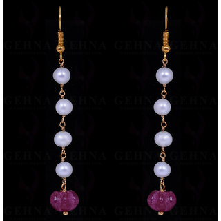 PEARL & MELON SHAPE RUBY GEMSTONE EARRINGS MADE IN .925 SOLID SILVER
