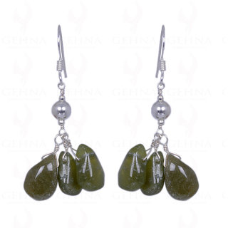 PERIDOT GEMSTONE CABOCHON DROPS EARRINGS MADE IN .925 SOLID SILVER