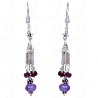 AMETHYST & RED GARNET GEMSTONE FACETED BEAD EARRINGS IN .925 SOLID SILVER