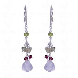 PERIDOT, CITRINE, ROSE QUARTZ & GARNET GEMSTONE EARRINGS IN .925 SILVER