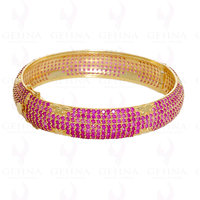 ruby diamond cut gemstone bangle/kada in .925 sterling silver