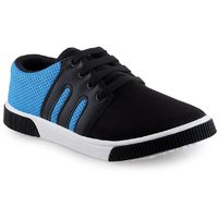 Camfoot Men's Black  Blue Lace Up Casual Shoes