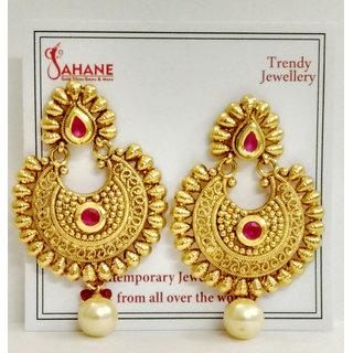 Kundan Style Antique Gold  Polished Earinsg