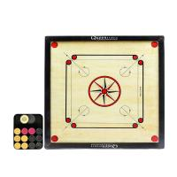 Queen Sports Family Carrom Board Premium quality Assam Plywood Medium size 59x59 playing area - Includes striker and coi