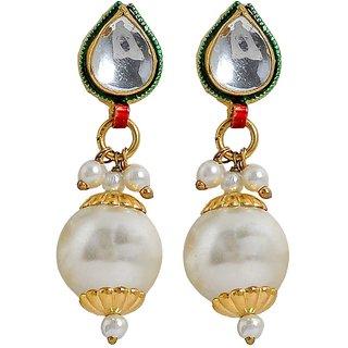 Maayra Women Earrings Wedding Festival Brass Dangler Drop White Kundan Pearl Jewellery