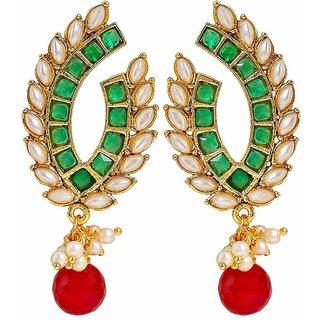 Maayra Women Earrings Wedding Festival Copper Dangler Drop Red Green Peacock Kundan Pearl Jewellery
