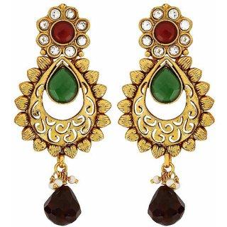 Maayra Women Earrings Wedding Festival Brass Dangler Drop Maroon Green Flower Leaves Jewellery