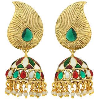 Maayra Women Earrings Wedding Festival Copper Jhumki Multicolour Leaf Jewellery