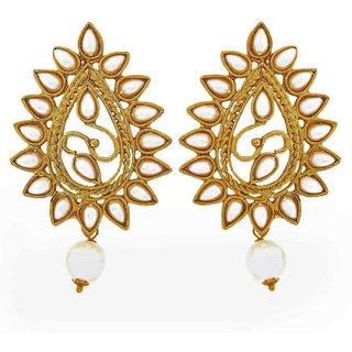 Maayra Women Earrings Wedding Festival Copper Dangler Drop White Pearls Jewellery