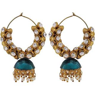 Maayra Women Earrings Wedding Festival Brass Hoops Peacock Blue Meenakari Jhumki Jewellery