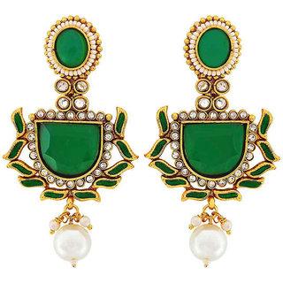 Maayra Women Earrings Wedding Festival Brass Dangler Drop Green Ethnic Jewellery
