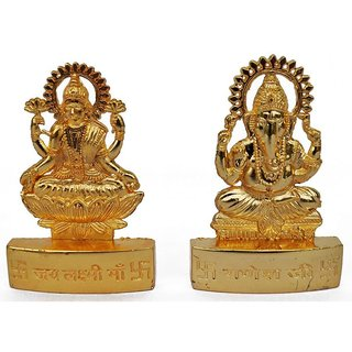 ReBuy Metal Gold Finish Laxmi And Ganesh Ji Idol
